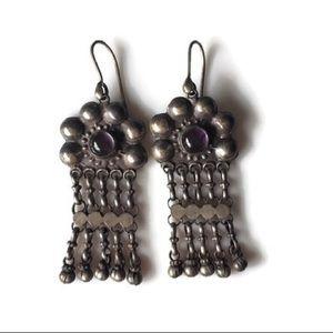 Vintage Silver Chandelier Earrings Dangle Gem